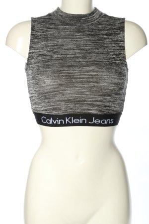 Calvin Klein Jeans Top recortado gris claro moteado estilo deportivo