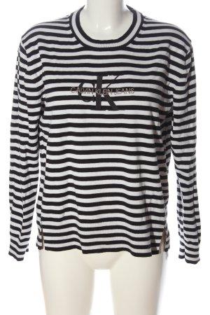 Calvin Klein Jeans Grof gebreide trui zwart-wit gestreept patroon