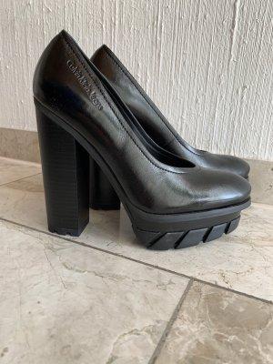 Calvin Klein Jeans High Heels Leder schwarz