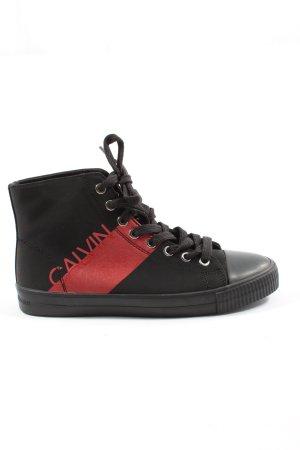 Calvin Klein Jeans High Top Sneaker schwarz-rot Schriftzug gedruckt