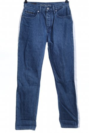 Calvin Klein Jeans Hoge taille jeans blauw-wit casual uitstraling