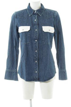 Calvin Klein Jeans Jeansbluse stahlblau-weiß schlichter Stil