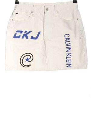 Calvin Klein Jeans Spijkerrok wit prints met een thema casual uitstraling