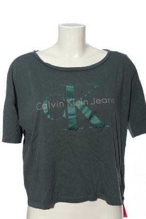 Calvin Klein Jeans Kurzarm-Bluse hellgrau-grün Schriftzug gedruckt Casual-Look
