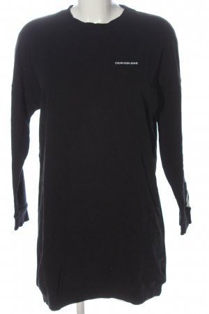 Calvin Klein Jeans Langarmkleid schwarz-weiß Schriftzug gedruckt Casual-Look