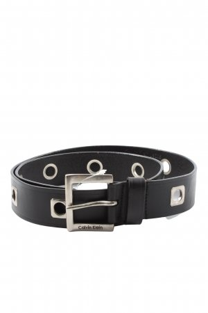 Calvin Klein Jeans Leather Belt black-silver-colored casual look