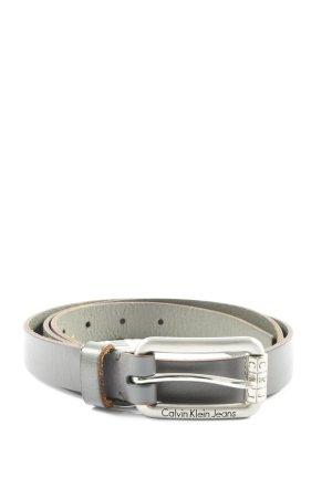 Calvin Klein Jeans Cinturón de cuero de imitación gris claro