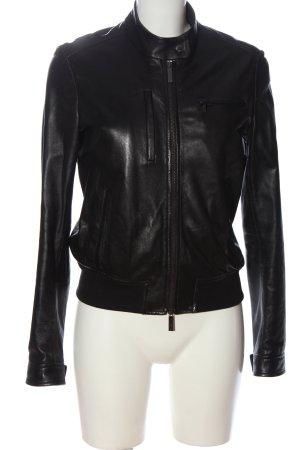 Calvin Klein Jeans Skórzana kurtka czarny W stylu casual