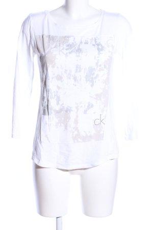 Calvin Klein Jeans Longsleeve weiß-hellgrau abstraktes Muster Casual-Look