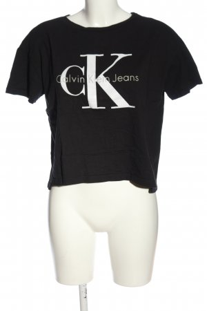 Calvin Klein Jeans Koszulka z nadrukiem czarny-biały Wydrukowane logo