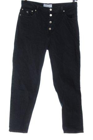 Calvin Klein Jeans Jeansy rurki czarny Tkanina z mieszanych włókien
