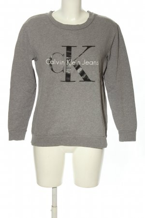 Calvin Klein Jeans Rundhalspullover hellgrau-schwarz meliert Casual-Look