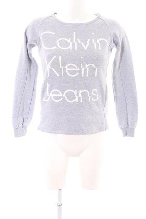 Calvin Klein Jeans Rundhalspullover hellgrau-weiß meliert Casual-Look