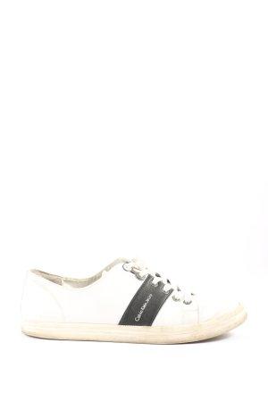 Calvin Klein Jeans Schnürsneaker weiß-schwarz Schriftzug gedruckt Casual-Look