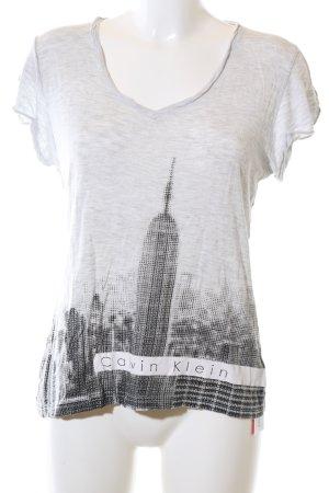 Calvin Klein Jeans Shirttunika weiß-schwarz meliert Casual-Look