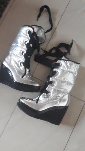Calvin Klein Jeans Laarsjes met sleehak zwart-zilver