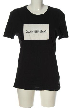 Calvin Klein Jeans Strickshirt schwarz Schriftzug gedruckt Casual-Look