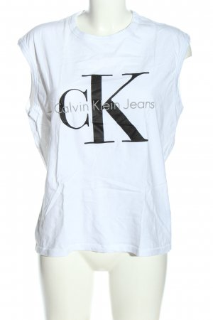 Calvin Klein Jeans Stricktop weiß-schwarz Motivdruck Casual-Look