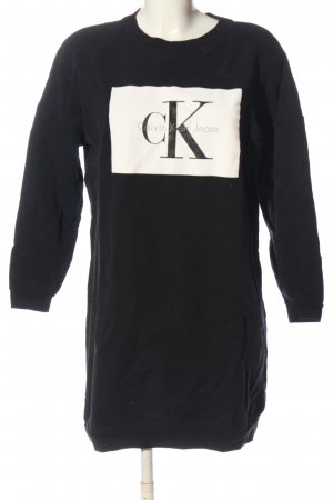 Calvin Klein Jeans Sweat Dress black-natural white printed lettering casual look