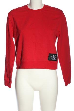 Calvin Klein Jeans Bluza dresowa czerwony-czarny Wydrukowane logo W stylu casual