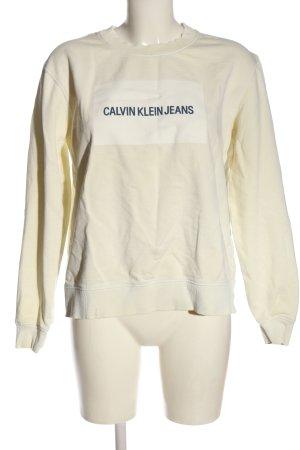 Calvin Klein Jeans Sweatshirt blanc cassé lettrage imprimé style décontracté