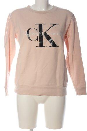 Calvin Klein Jeans Sweatshirt rose lettrage imprimé style décontracté