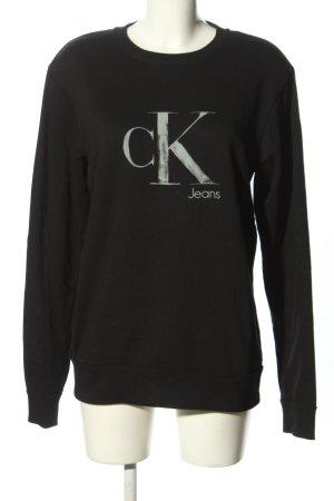 Calvin Klein Jeans Sweatshirt schwarz-weiß Schriftzug gedruckt Casual-Look