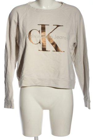 Calvin Klein Jeans Sweatshirt nude-braun Schriftzug gedruckt Casual-Look