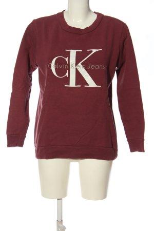 Calvin Klein Jeans Sweatshirt rot-weiß Schriftzug gedruckt Casual-Look