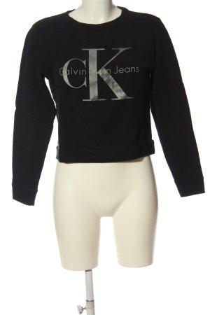 Calvin Klein Jeans Sweatshirt noir-argenté lettrage imprimé