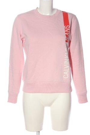 Calvin Klein Jeans Sweatshirt rose-rouge lettrage imprimé style décontracté