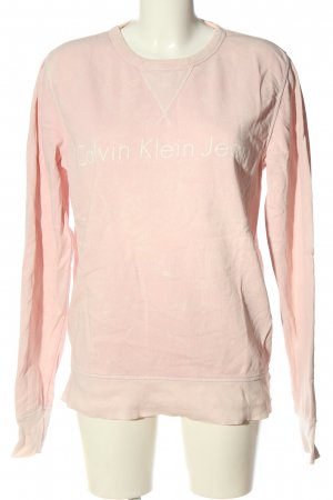 Calvin Klein Jeans Sweatshirt rose-blanc lettrage imprimé style décontracté