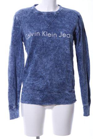 Calvin Klein Jeans Sweatshirt blau-weiß meliert Casual-Look