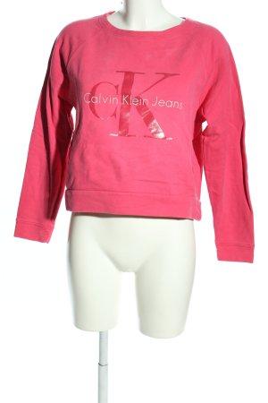 Calvin Klein Jeans Sweatshirt pink Schriftzug gedruckt Casual-Look