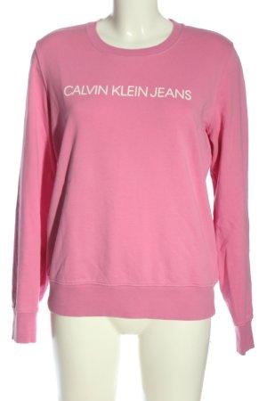 Calvin Klein Jeans Sweatshirt pink-weiß Schriftzug gedruckt Casual-Look