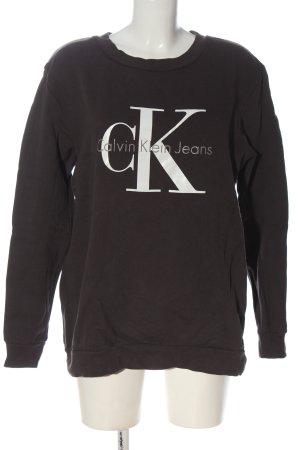 Calvin Klein Jeans Sweatshirt schwarz-weiß Schriftzug gedruckt Elegant