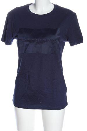 Calvin Klein Jeans T-Shirt blau Schriftzug gedruckt Casual-Look