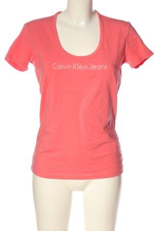 Calvin Klein Jeans T-shirt rose lettrage imprimé style décontracté