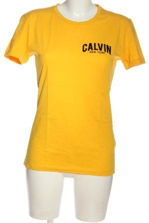 Calvin Klein Jeans T-Shirt blassgelb Schriftzug gedruckt Casual-Look