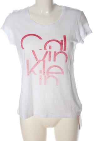 Calvin Klein Jeans T-Shirt weiß-pink Schriftzug gedruckt Casual-Look