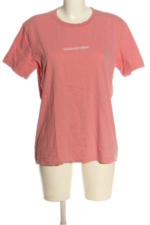 Calvin Klein Jeans T-Shirt pink-weiß Schriftzug gedruckt Casual-Look