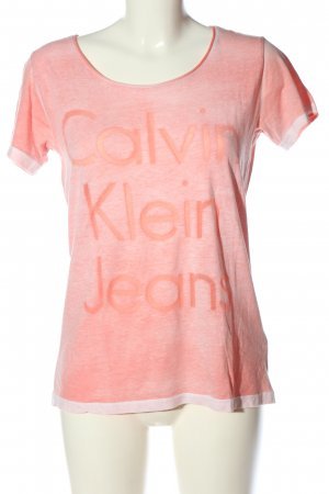 Calvin Klein Jeans T-Shirt pink-creme Schriftzug gedruckt Casual-Look