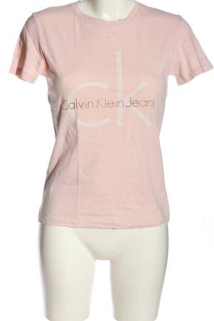 Calvin Klein Jeans T-Shirt creme Schriftzug gedruckt Casual-Look