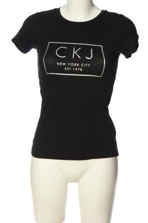 Calvin Klein Jeans T-shirt noir-blanc imprimé avec thème style décontracté