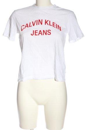 Calvin Klein Jeans T-shirt biały-czerwony Wydrukowane logo W stylu casual