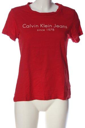 Calvin Klein Jeans T-Shirt rot-weiß Schriftzug gedruckt Casual-Look