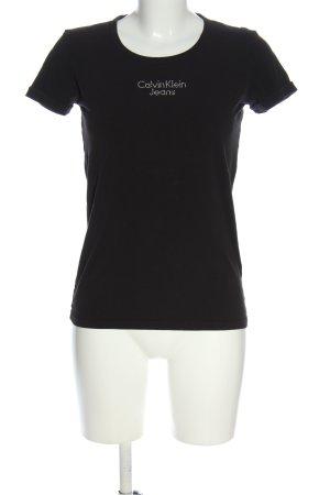 Calvin Klein Jeans T-shirt czarny Wydrukowane logo W stylu casual