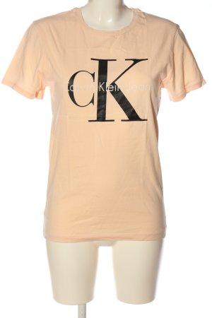 Calvin Klein Jeans T-Shirt nude-schwarz Schriftzug gedruckt Casual-Look