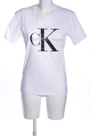 Calvin Klein Jeans T-Shirt weiß-schwarz Schriftzug gedruckt Casual-Look