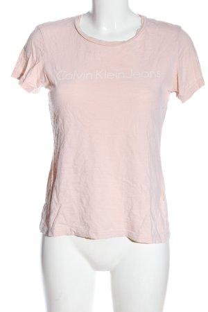 Calvin Klein Jeans T-Shirt pink Schriftzug gedruckt Casual-Look